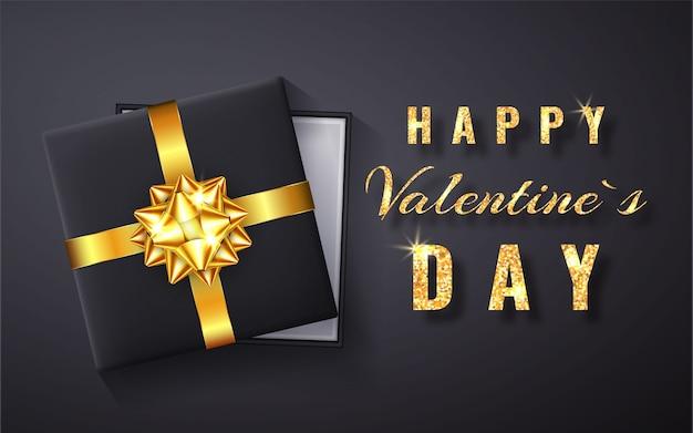 Glücklicher valentinstag goldener glitzer funkeln