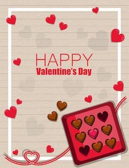 Glücklicher valentinstag-gruß mit schokoladenkasten-draufsicht auf holzmuster