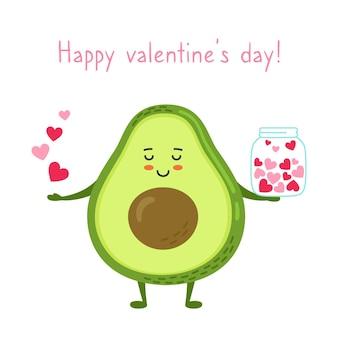 Glücklicher valentinstag grußkarte avocado mit glas der herzen