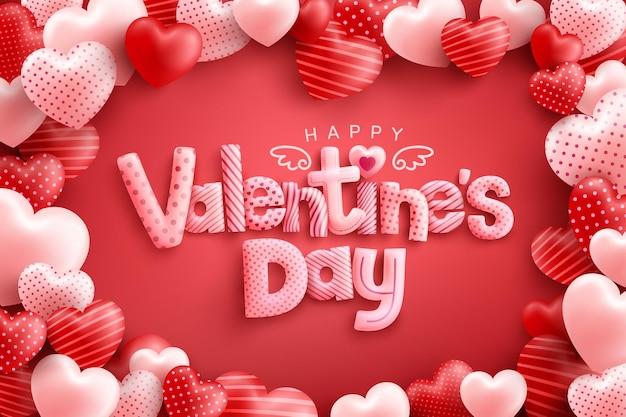 Glücklicher valentinstag grußkarte mit formulierung
