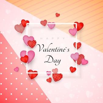 Glücklicher valentinstag grußkarte oder einladungsentwurf. 14. februar tag der liebe und romantik. sei mein valentinsschatz. feiertagsfahne mit roten herzen und weißem rahmen.