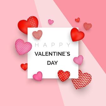 Glücklicher valentinstag grußkarte oder einladungsentwurf. feiertagsbanner mit roten herzen. 14. februar tag der liebe und romantik.