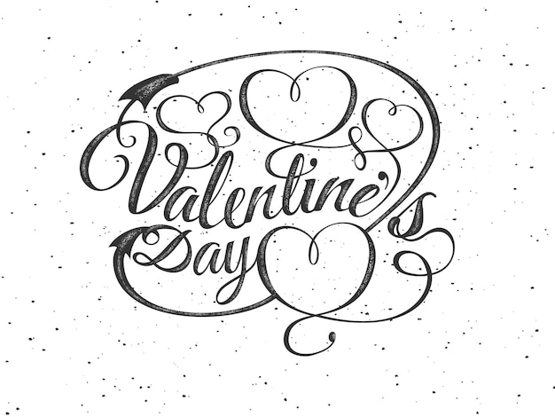 Glücklicher valentinstag grußkarte. schriftkomposition mit herzen. vektor schöne urlaub romantische illustration. strukturiertes etikett stempeln. vintage, retro-stil