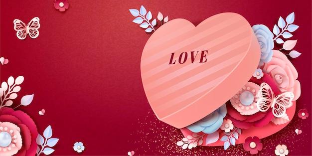 Glücklicher valentinstag-grußkartenentwurf mit herzförmiger geschenkbox mit papierblumendekorationen im 3d-stil