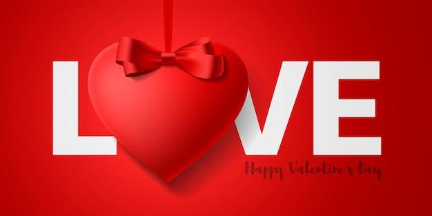Glücklicher valentinstag grußkartenentwurf. wortliebe und hängendes rotes herz mit bogen