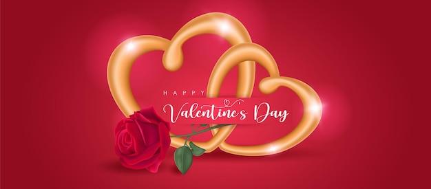 Glücklicher valentinstag-grußtext mit goldherzenringen