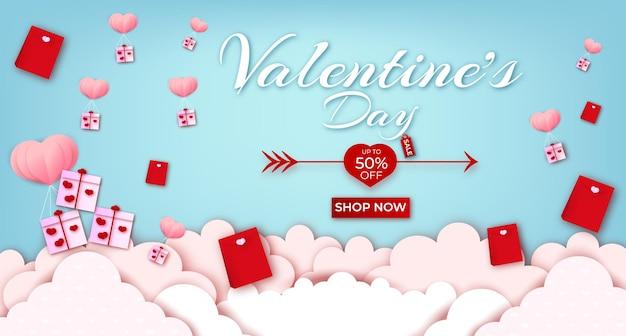 Glücklicher valentinstag-grußtext mit herzen und fahnenverkauf