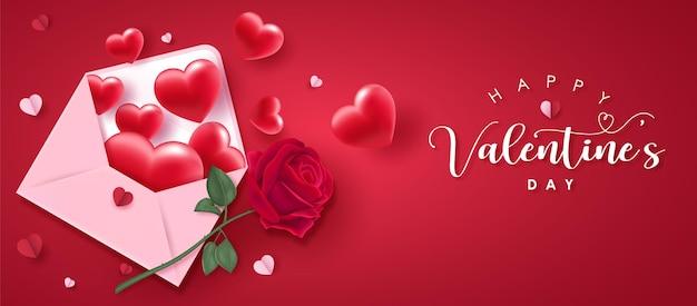 Glücklicher valentinstag-grußtext mit herzen