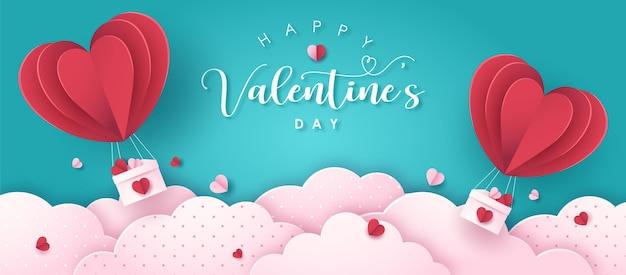 Glücklicher valentinstag-grußtext mit luftballon des papierstils