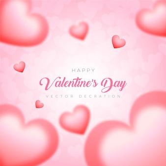 Glücklicher valentinstag-herzballon auf rosa hintergrund-premium-vektor