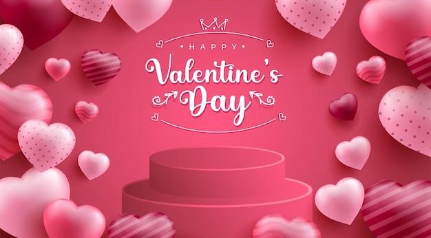 Glücklicher valentinstag-hintergrund mit realistischer herd- oder liebesform und 3d-podium