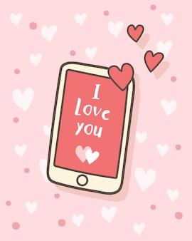 Glücklicher valentinstag ich liebe dich mitteilung auf smartphone