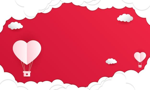 Glücklicher valentinstag im papierkunststil