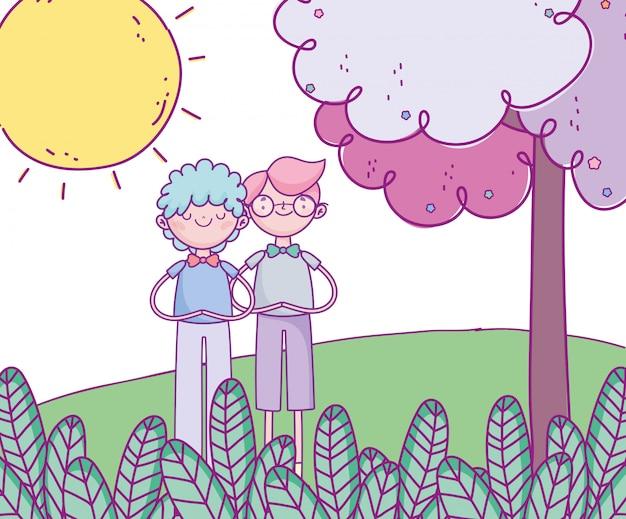 Glücklicher valentinstag, junge männer in der grasbaumkarikatur des sonnigen tages