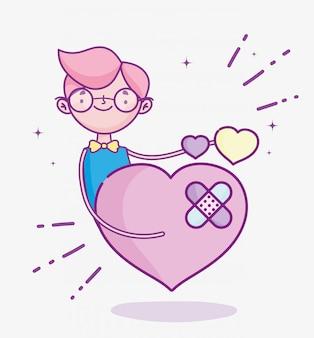 Glücklicher valentinstag, junge mann traurige liebe herzen cartoon vektor-illustration