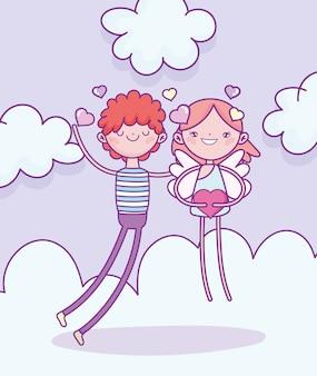 Glücklicher valentinstag, junge mit amor, der herzliebeswolkenvektorillustration hält