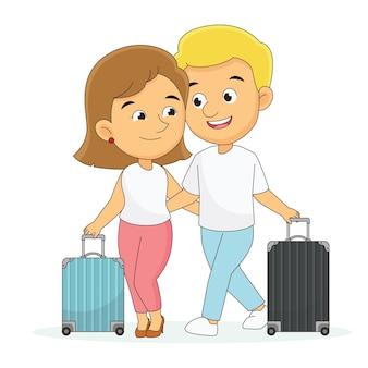 Glücklicher valentinstag, junges glückliches paar hat romantische flitterwochenreise