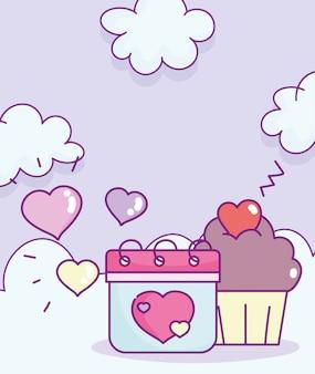 Glücklicher valentinstag, kalender und süße cupcake-herzwolken-cartoon-vektorillustration