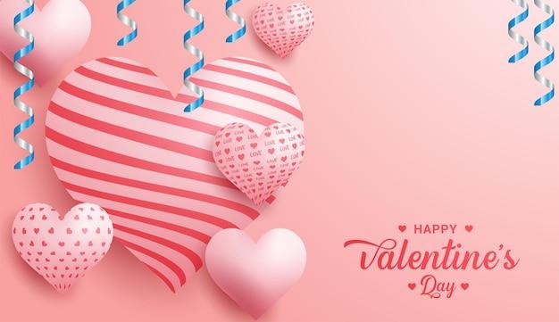Glücklicher valentinstag-kalligraphie-hintergrund mit herzen