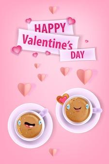 Glücklicher valentinstag lieben grußkarte mit kawaii kaffeetassen mit lächelnden gesichtern, papierschnittherzen. romantisches feiertagsrosa, das draufsichtdesign mit lustigem paar datiert. valentinstag rosa grußauto