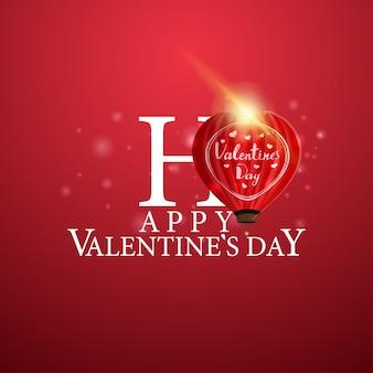 Glücklicher valentinstag - logo mit herzförmigem ballon