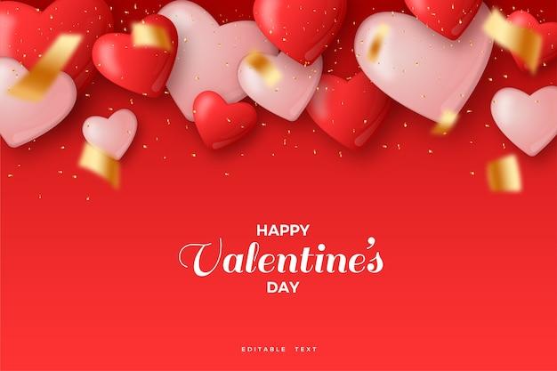Glücklicher valentinstag mit 3d-ballonillustration