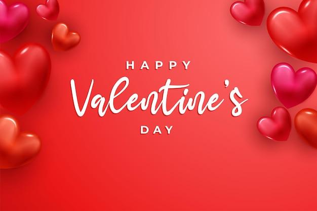 Glücklicher valentinstag mit 3d herz. valentinstag konzept.