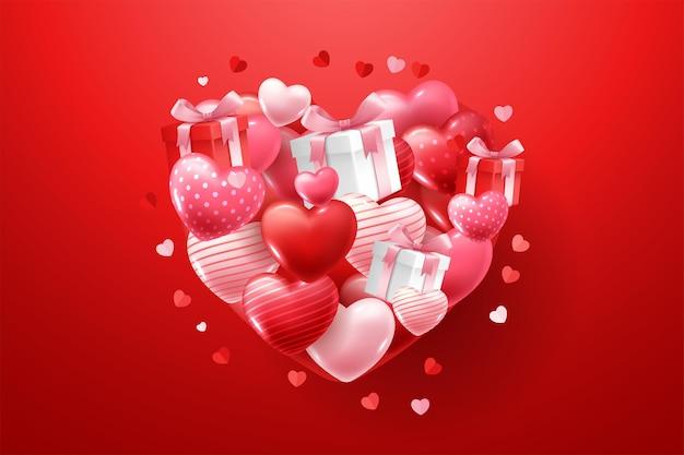Glücklicher valentinstag mit 3d-herzen