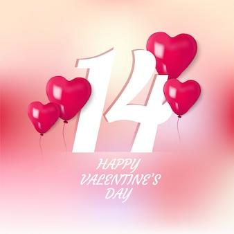 Glücklicher valentinstag mit ballon des herzens 3d
