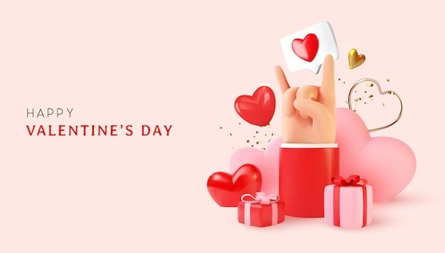 Glücklicher valentinstag mit der artzusammensetzung der liebesobjekte