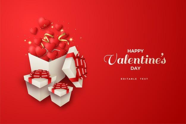Glücklicher valentinstag mit einer illustration einer geöffneten geschenkbox