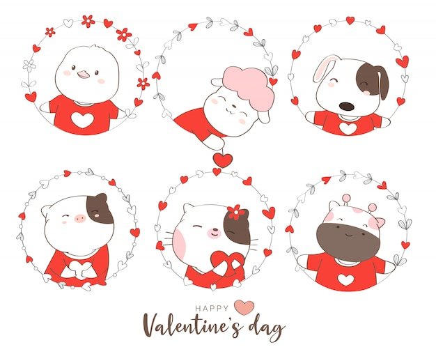 Glücklicher valentinstag mit gezeichneter art der netten tierkarikatur hand
