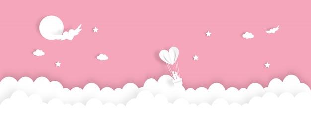 Glücklicher valentinstag mit glücklichem paar auf ballon, papierschnittart - vector illustration.
