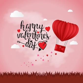 Glücklicher valentinstag mit hellem hintergrund