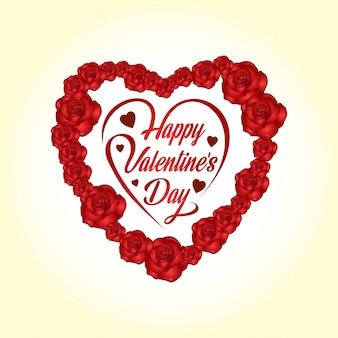 Glücklicher valentinstag mit hellem hintergrundvektor- und -rosenherzen