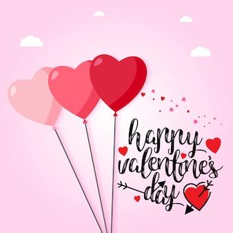 Glücklicher valentinstag mit hellrosa hintergrund