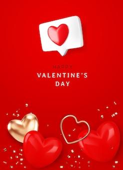 Glücklicher valentinstag mit herz und goldband auf roter hintergrundillustration