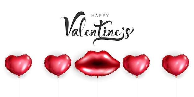 Glücklicher valentinstag mit herzballons und weiblichen roten lippen