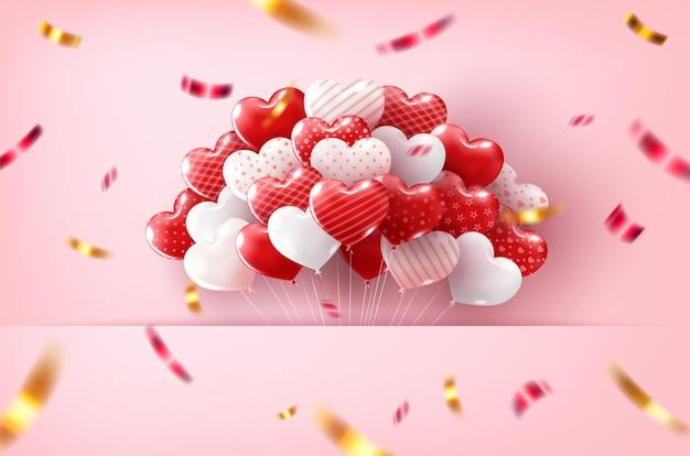 Glücklicher valentinstag mit herzballons
