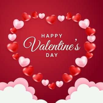 Glücklicher valentinstag mit herzen