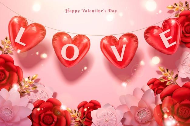 Glücklicher valentinstag mit herzförmigen luftballons und papierblumen in der 3d-illustration