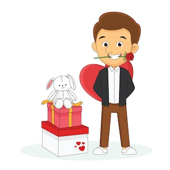 Glücklicher valentinstag mit jungem mann mit blumen und geschenkboxen