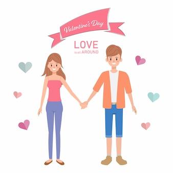 Glücklicher valentinstag mit liebhaberhintergrund.