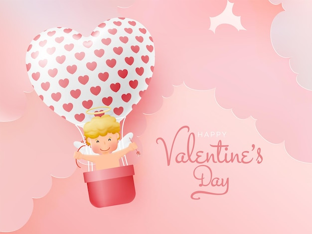 Glücklicher valentinstag mit niedlichem amor und 3d kunstartillustration