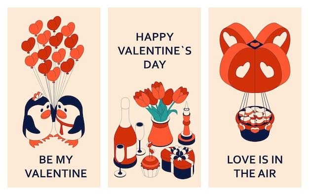 Glücklicher valentinstag mit niedlichen isometrischen elementen. grußkarte und liebesschablone