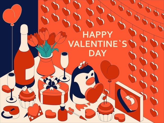 Glücklicher valentinstag mit niedlichen isometrischen elementen. grußkarte