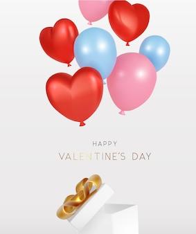 Glücklicher valentinstag mit offener geschenkbox und fliegendem ballon realistisch