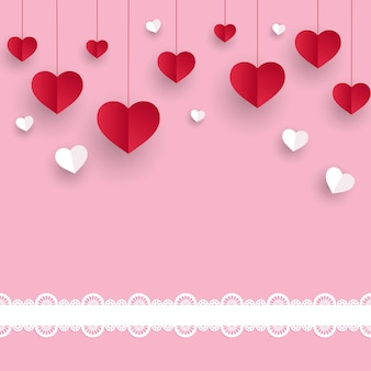 Glücklicher valentinstag mit papierschnittband und roten schwebenden herzen
