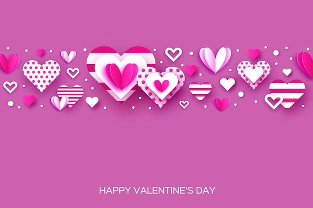 Glücklicher valentinstag mit papierschnittherz. fliegende liebesherzen.
