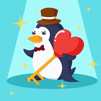 Glücklicher valentinstag mit pinguin- und herzschlüssel